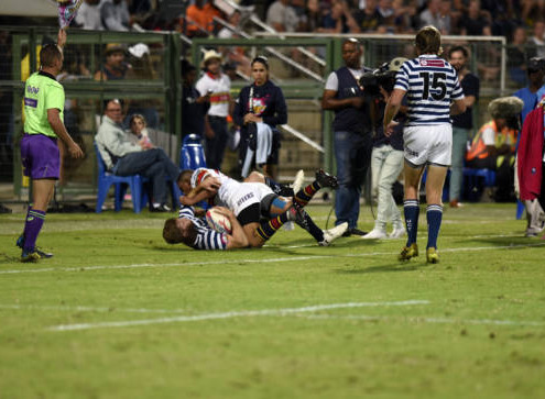 2017 Varsity Cup, presented by Steinhoff, FNB and STEERS. Monday, 20 March 2017 FNB UP-TUKS vs FNB UCT at Tuks Rugby Field, Pretoria, Gauteng.  Joel Clive Eugene Smith, of UCT   and Dewald Naude, of FNB UP-TUKS  Photo by: CATHERINE KOTZE/SASPA