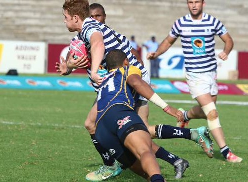 UWC vs UCT, Varsity Cup Rugby. Stefan Pieterse trying to break away, Promotin Relegation Match,  Danie Craven Stadium, Stellenbosch,11 April 2016.  Photo:  Liam Hamer-Nel/alliancephoto.com
