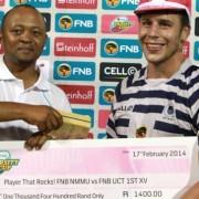 Varsity Cup 2014, FNB NMMU vs FNB UCT 1ST XV. 17 February 2014, FNB NMMU vs FNB UCT  in the CUP Match at NMMU.Jason Klaasen of the University of Cape Town winning man of the match   Photo by: Michael Sheehan/SASPA